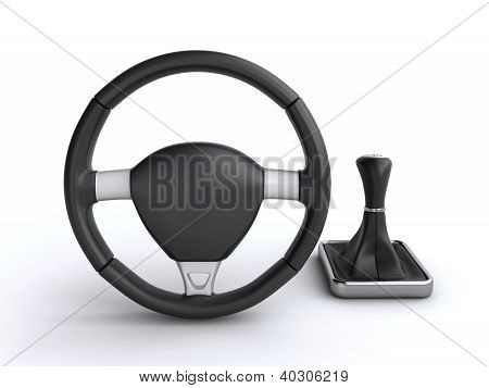 Car Steering Wheel And Gear Stick