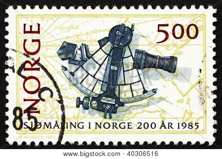 Postage Stamp Norway 1985 Sextant And Chart, 1791