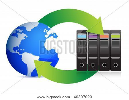 Network Concept � Servers And Globe