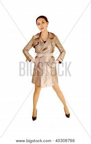Pretty Girl In Light Coat.