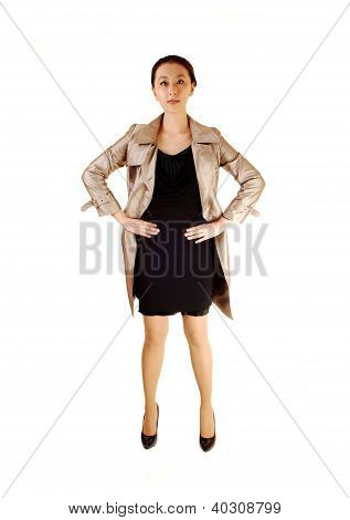 Asian Woman In Coat.