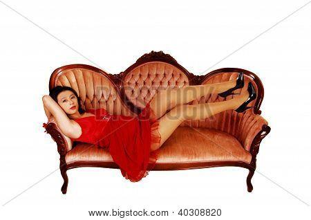Girl Lying On Sofa.