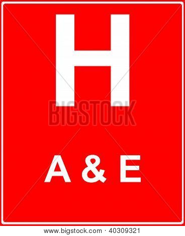 Постер, плакат: Больница вперед с аварии и чрезвычайные услуги, холст на подрамнике