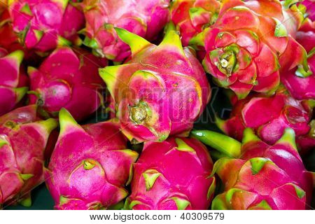 Pitaya fruits on the local market in Thailand