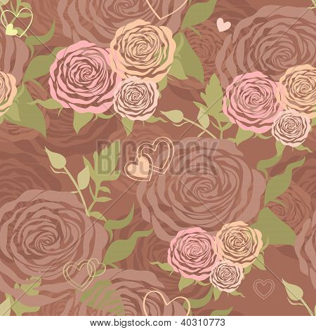 Vector Pastel Floral Seamless Pattern With Flower Roses