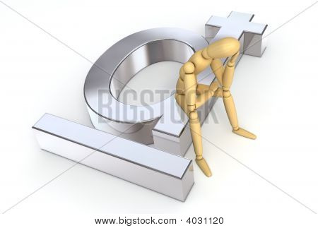 Lay Figure Sitting On Dong Symbol