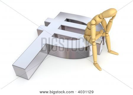 Lay Figure Sitting On Peso Symbol