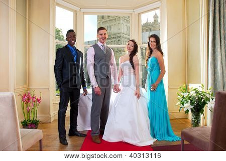 Bride and Groom with best man and bridesmaid