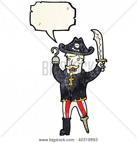 cartoon pirate captain with speech bubble