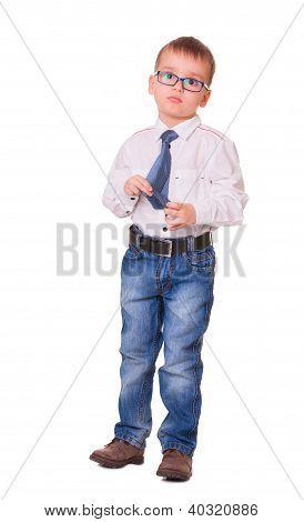 Upset Small Kid On White