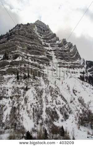 Provo Canyon Peak In Winter