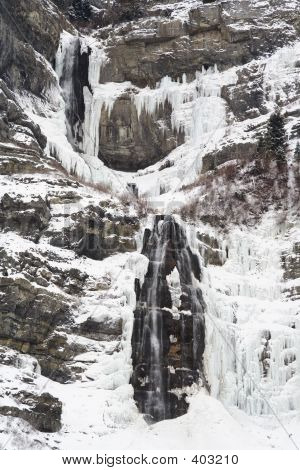 Bridal Veil Falls In Winter Close-up