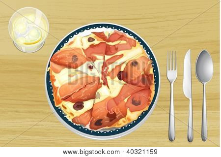 Illustration of a pizza with ham on a wooden table