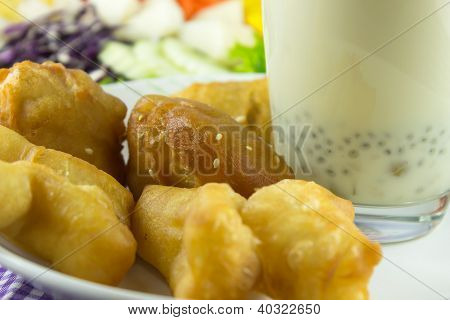 Soybean Milk And Deep-fried Dough Stick For Breakfast
