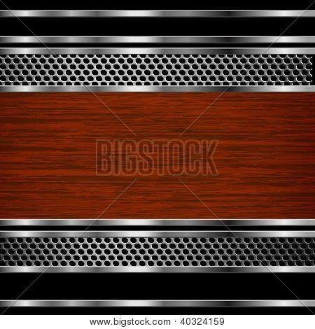 Abstract steel and wood business background. Raster copy of vector illustration