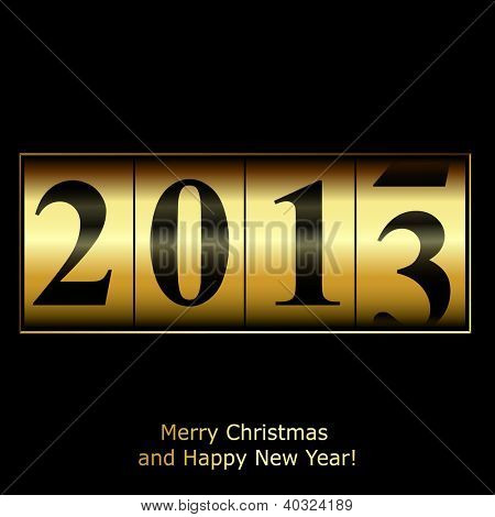 New Year counter in gold design. Raster copy of vector illustration