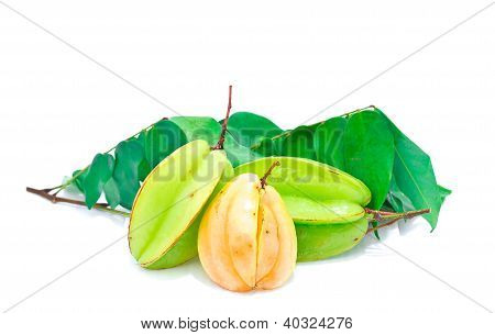 Carambole or star fruit on white background