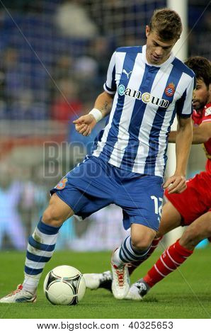 BARCELONA - NOV, 28: Samuele Longo of Espanyol during a King's Cup match between Espanyol and Osasuna  at the Estadi Cornella on November 28, 2012 in Barcelona, Spain