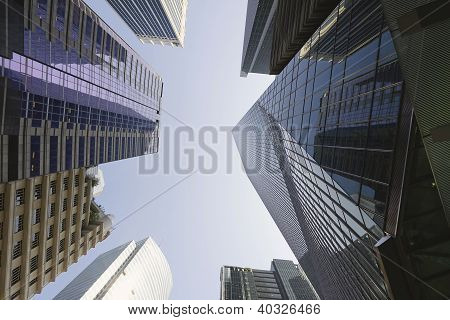 Office Buildings Reflection In Singapore Financial District