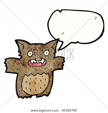 cartoon little gremlin with speech bubble