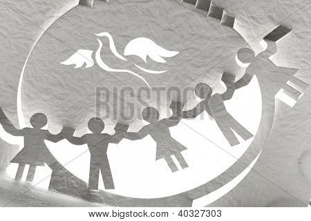 paper cut dove and kids,peace concept.
