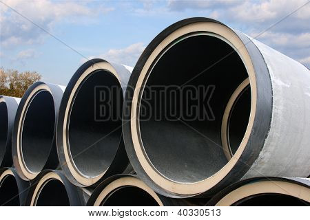 Stack Of Pipes Of The Big Diameter