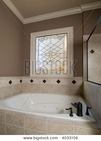 Luxury Jacuzzi And Stained-Glass Window
