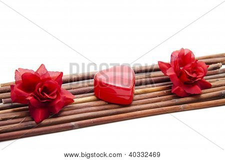 Red Flower with Red Heart and  Underlayment