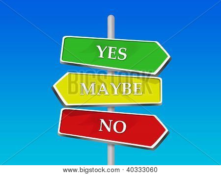 Yes No Maybe - 3 Colorful Arrow Signs