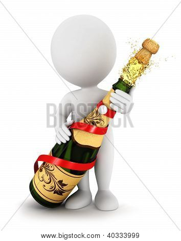 3d white people opens a champagne bottle