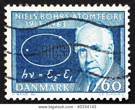 Postage stamp Denmark 1963 Niels Bohr and Atom Diagram