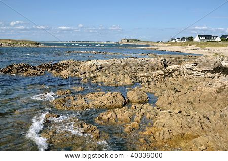 Rocky coastline of Portivy in France