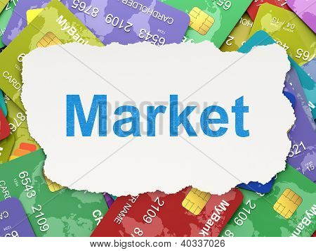 Torn paper with words Market on credit card background