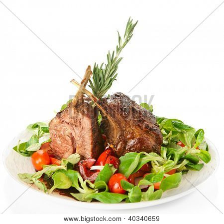 Rare fried rack of lamb isolated on white background