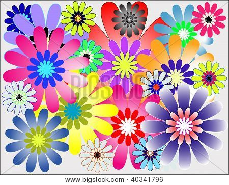 Blooming Multicolor Fresh Flower Background & Wallpaper Pattern