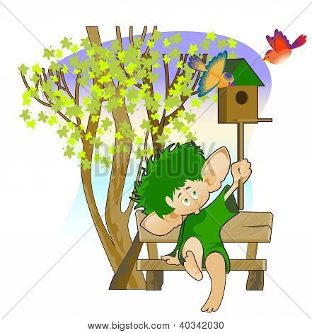 Little Leprechaun With A Birdhouse