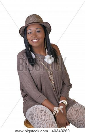Young African American Woman Hat Sweater Stockings