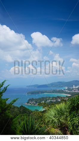 Western coastline of Phuket island (beaches from closest: Kata Noi, Kata, Karon), Andaman sea, Thailand