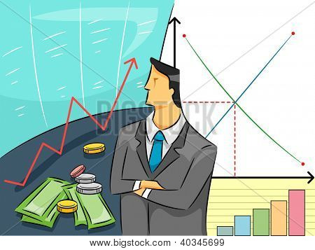 Illustration of a a Man in Business Attire Studying Graphs and Charts