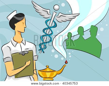 Cartoon Illustration of a Woman Nurse