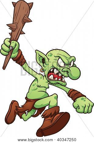 Angry running troll. Vector clip art illustration with simple gradients. All in a single layer.