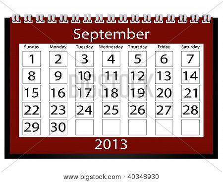 3D Render 2013 Calendar September