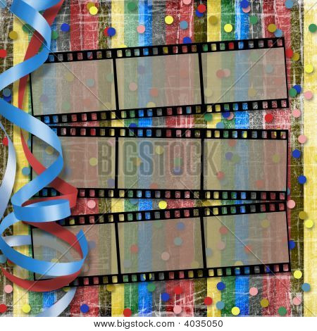 A Striped Scratch Background With  Filmstrips, Streamers And Confetti