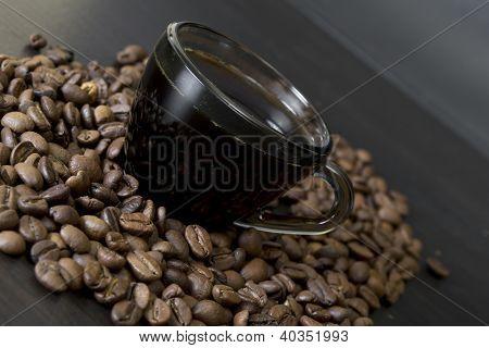 coffee beans, cup, Pots, cinnamon on dark background
