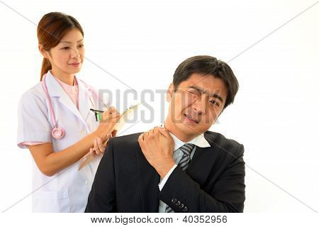 Man with shoulder neck pain