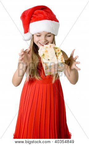 Portrait Of Happy Little Girl With Gift Box