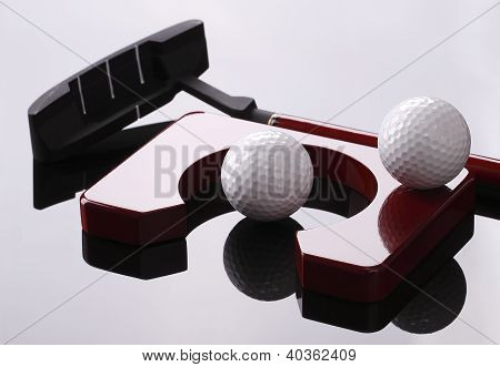 Set For Golf, Golfclub, Balls And Hole