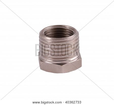 Tube Adapter Silver, With Internal And External Thread, Standing Upright