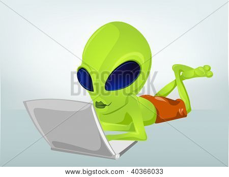Cartoon Character Funny Alien Isolated on Grey Gradient Background. Coder. Vector EPS 10.