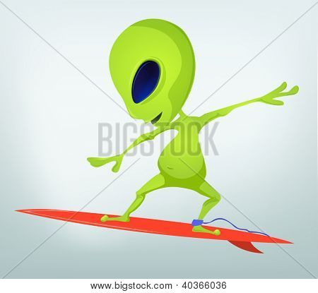 Cartoon Character Funny Alien Isolated on Grey Gradient Background. Surfing. Vector EPS 10.